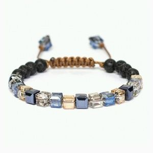 Glass lava pyrite adjustable diffuser bracelet